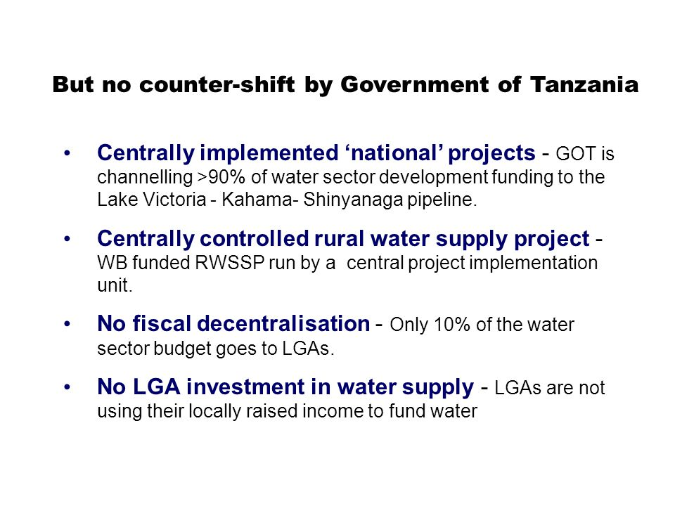 1.Special purpose grant for rural water supply to local councils 2.Sector investment coordination mechanism led by Government Possible transition arrangements