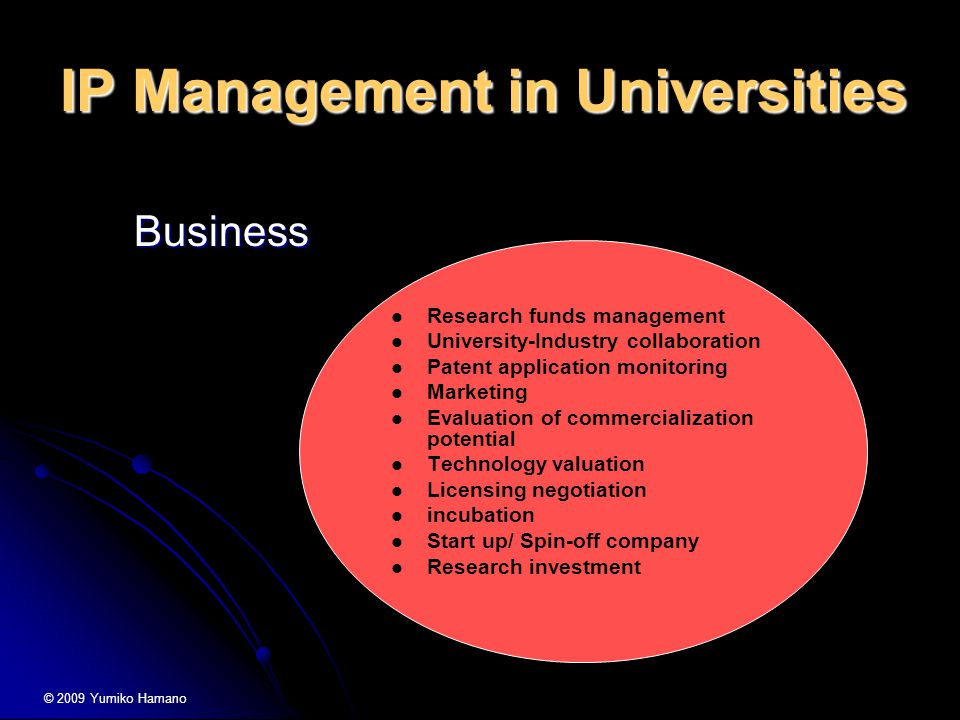 IP Management in Universities Research funds management University-Industry collaboration Patent application monitoring Marketing Evaluation of commercialization potential Technology valuation Licensing negotiation incubation Start up/ Spin-off company Research investment Business Business © 2009 Yumiko Hamano