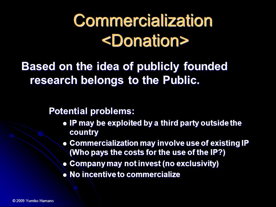 Commercialization Commercialization Based on the idea of publicly founded research belongs to the Public.