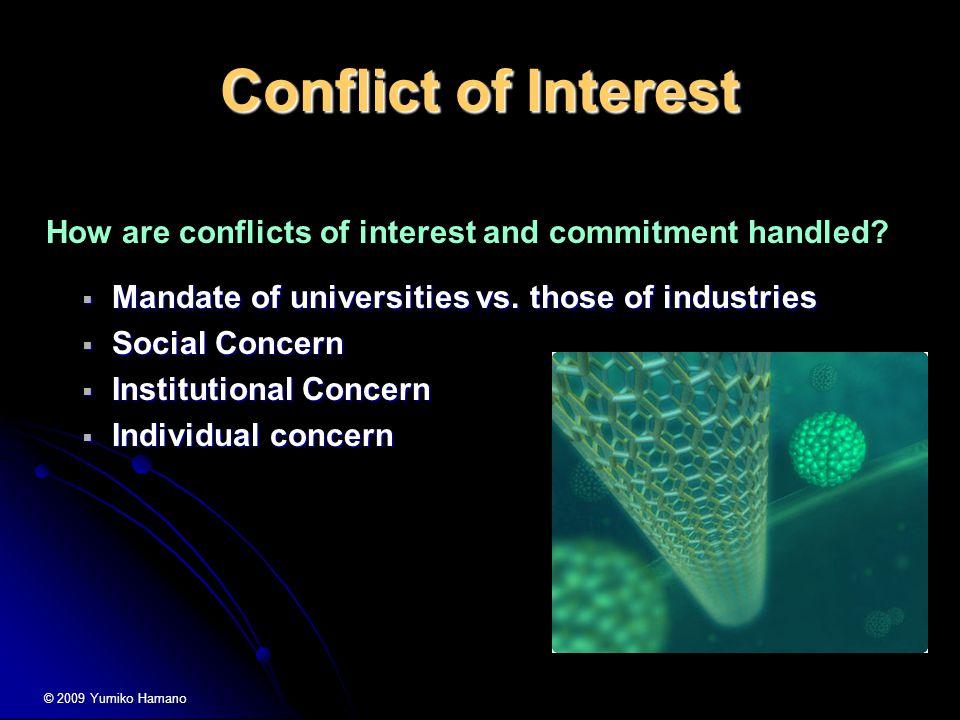 Conflict of Interest  Mandate of universities vs.