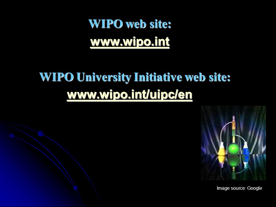 WIPO web site: www.wipo.int WIPO University Initiative web site: WIPO University Initiative web site: www.wipo.int/uipc/en Image source: Google