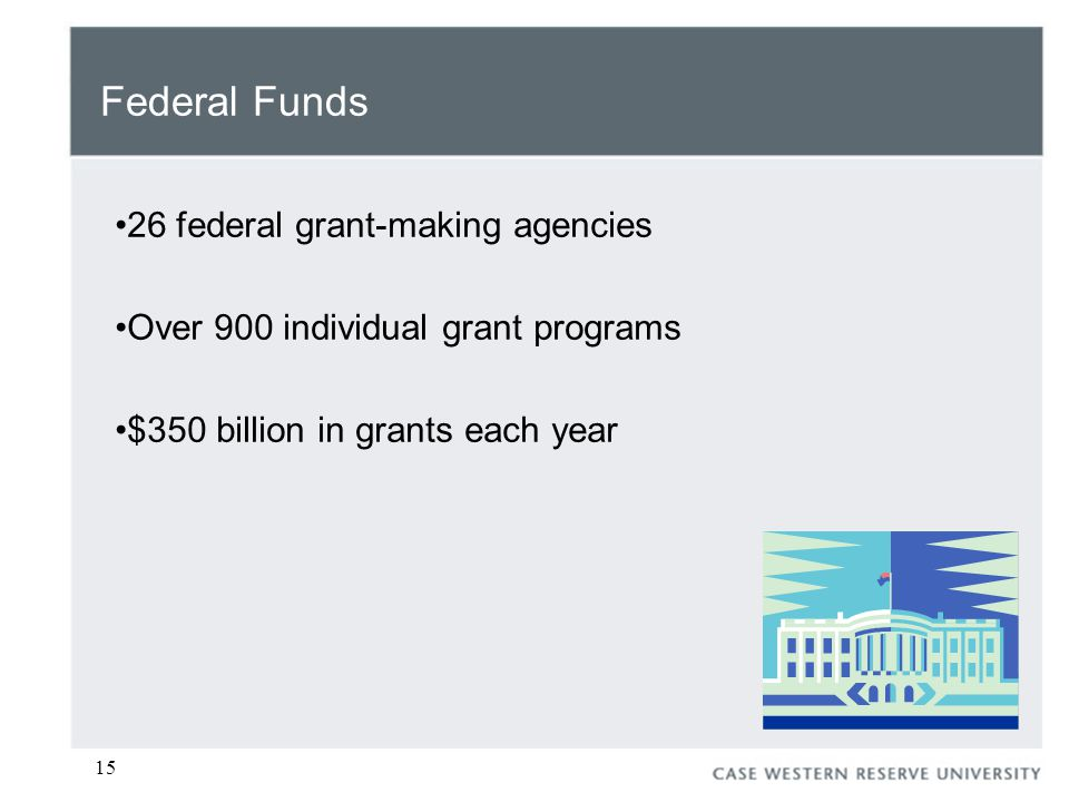 15 Federal Funds 26 federal grant-making agencies Over 900 individual grant programs $350 billion in grants each year