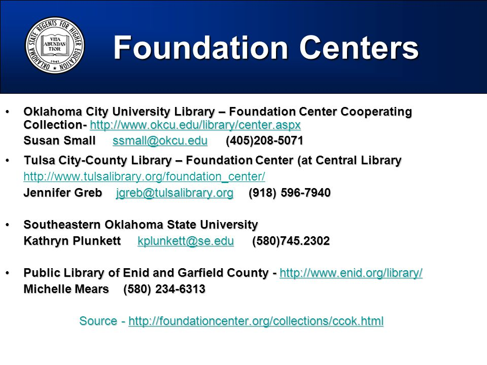 Oklahoma City University Library – Foundation Center Cooperating Collection- http://www.okcu.edu/library/center.aspxOklahoma City University Library – Foundation Center Cooperating Collection- http://www.okcu.edu/library/center.aspxhttp://www.okcu.edu/library/center.aspx Susan Small ssmall@okcu.edu (405)208-5071 ssmall@okcu.edu Tulsa City-County Library – Foundation Center (at Central LibraryTulsa City-County Library – Foundation Center (at Central Library http://www.tulsalibrary.org/foundation_center/ Jennifer Greb jgreb@tulsalibrary.org (918) 596-7940 jgreb@tulsalibrary.org Southeastern Oklahoma State UniversitySoutheastern Oklahoma State University Kathryn Plunkett kplunkett@se.edu (580)745.2302 kplunkett@se.edu Public Library of Enid and Garfield County - http://www.enid.org/library/Public Library of Enid and Garfield County - http://www.enid.org/library/http://www.enid.org/library/ Michelle Mears (580) 234-6313 Source - http://foundationcenter.org/collections/ccok.html http://foundationcenter.org/collections/ccok.html Foundation Centers Foundation Centers