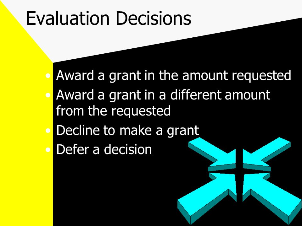 Evaluation Decisions Award a grant in the amount requested Award a grant in a different amount from the requested Decline to make a grant Defer a decision