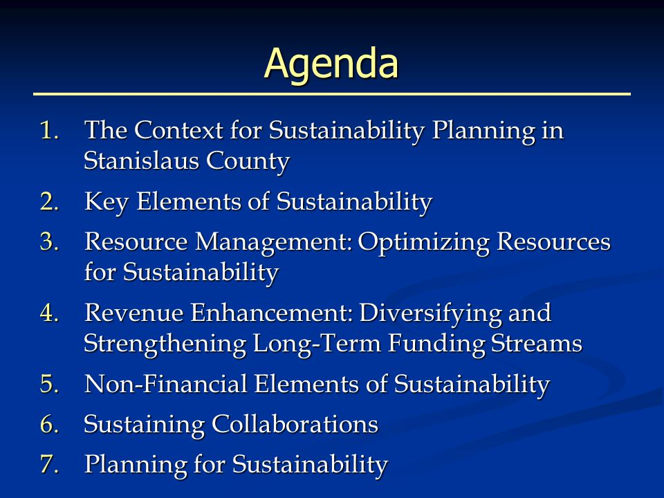 How Sustainability Is Used Service providers: Keep my funding at 100%+ of current levels. Keep my funding at 100%+ of current levels. Keep my staff in place, avoid layoffs. Keep my staff in place, avoid layoffs. Keep my current programs going. Keep my current programs going. Funders: Keep the program alive after we cut or eliminate your funding. Keep the program alive after we cut or eliminate your funding. Take over roles we are currently serving. (e.g.