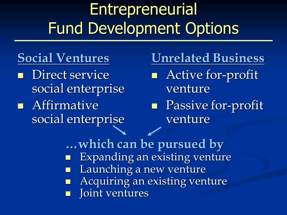 Entrepreneurial Fund Development Options Social Ventures Direct service social enterprise Direct service social enterprise Affirmative social enterprise Affirmative social enterprise Unrelated Business Active for-profit venture Active for-profit venture Passive for-profit venture Passive for-profit venture …which can be pursued by Expanding an existing venture Expanding an existing venture Launching a new venture Launching a new venture Acquiring an existing venture Acquiring an existing venture Joint ventures Joint ventures