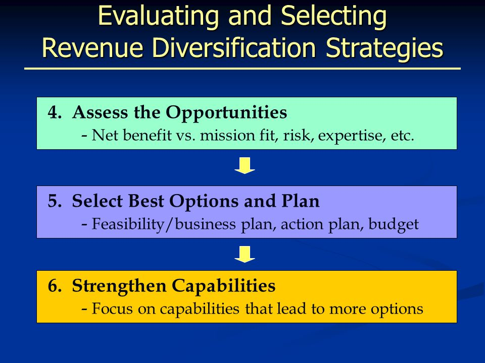 Evaluating and Selecting Revenue Diversification Strategies 4.Assess the Opportunities - Net benefit vs.