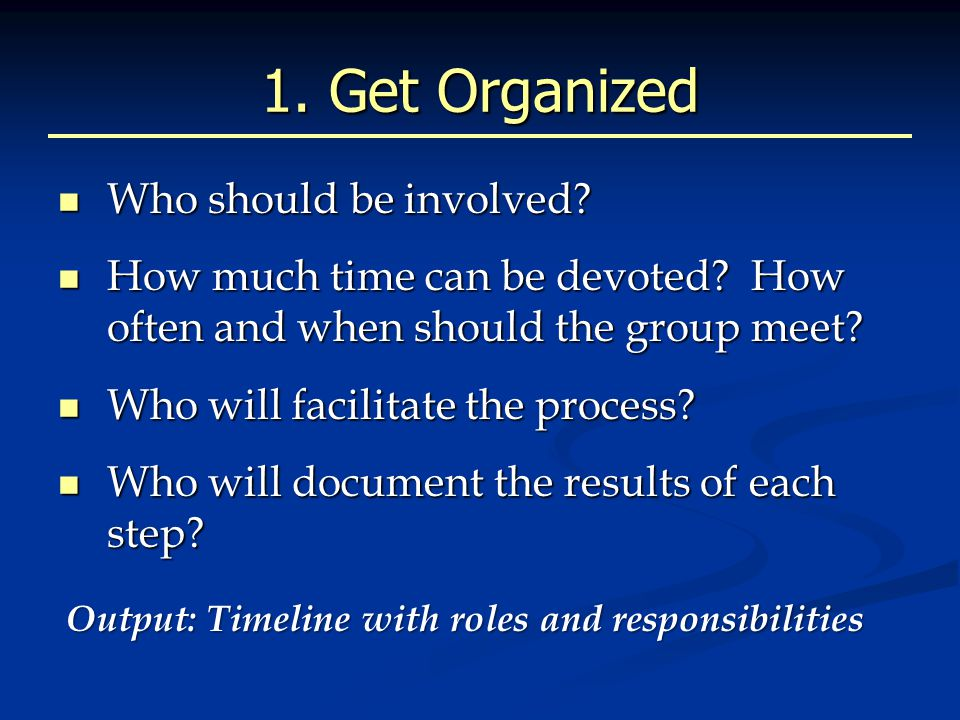 1. Get Organized Who should be involved. Who should be involved.