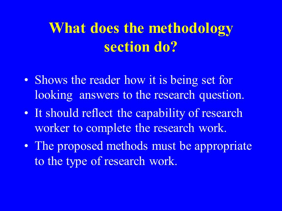 What does the methodology section do.