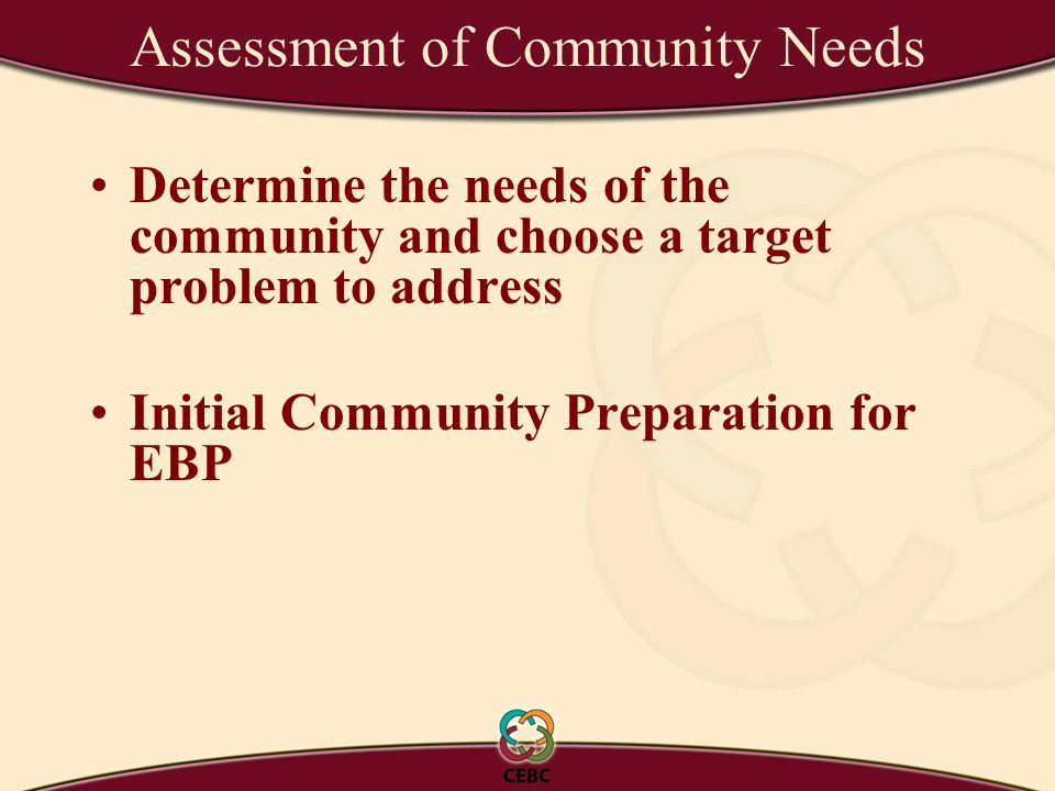 Determine the needs of the community and choose a target problem to address Initial Community Preparation for EBP