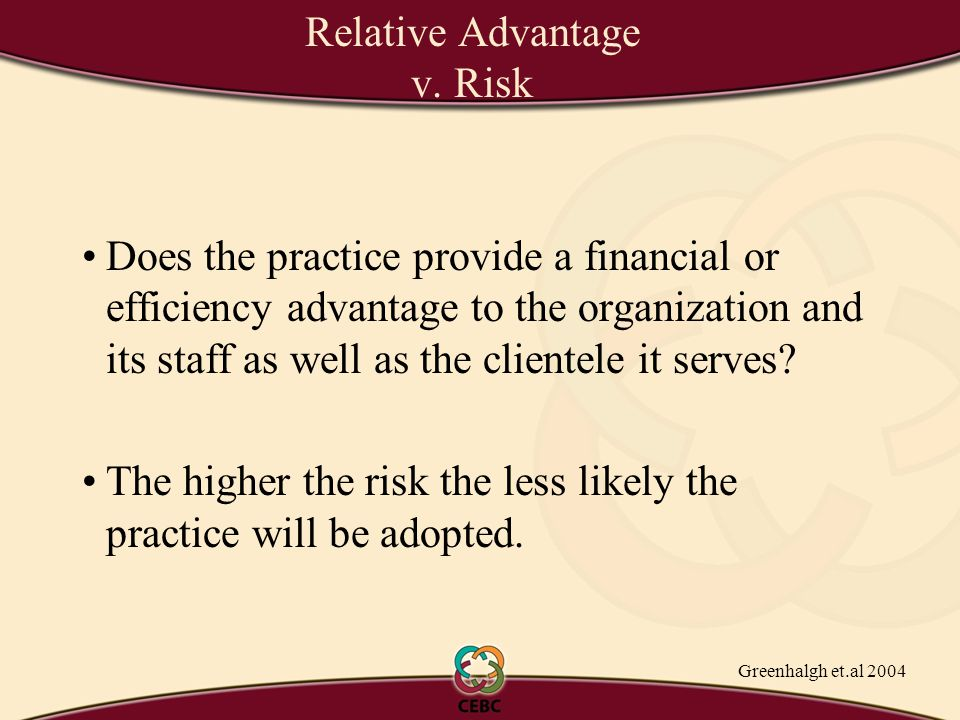 Does the practice provide a financial or efficiency advantage to the organization and its staff as well as the clientele it serves.