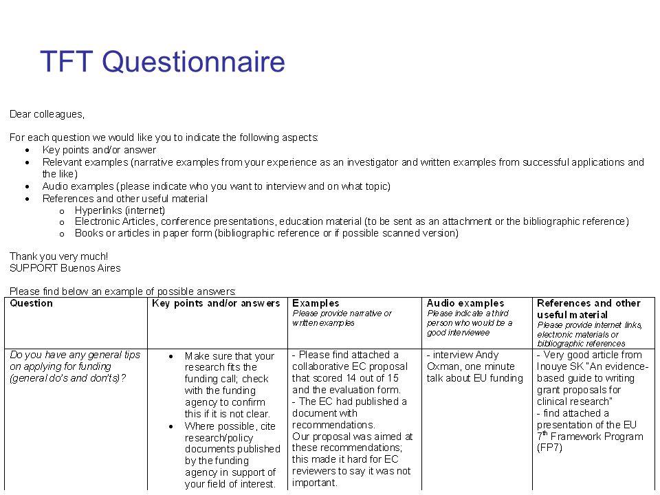 TFT Questionnaire