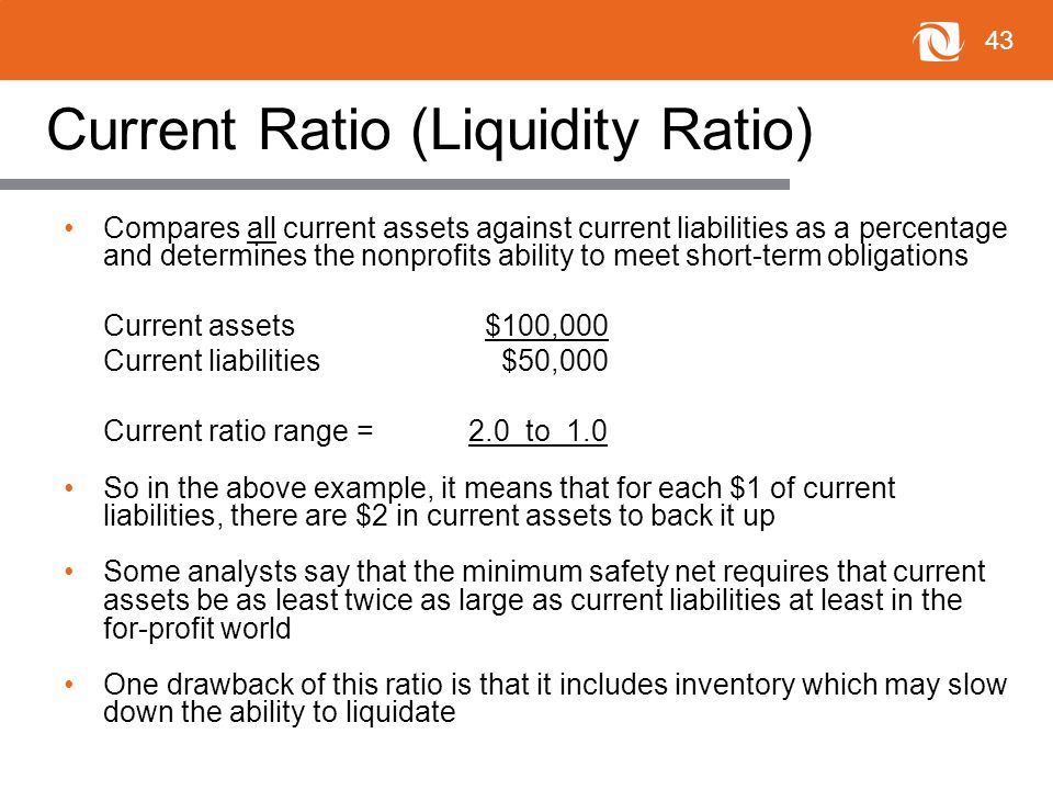 43 Current Ratio (Liquidity Ratio) Compares all current assets against current liabilities as a percentage and determines the nonprofits ability to meet short-term obligations Current assets$100,000 Current liabilities $50,000 Current ratio range = 2.0 to 1.0 So in the above example, it means that for each $1 of current liabilities, there are $2 in current assets to back it up Some analysts say that the minimum safety net requires that current assets be as least twice as large as current liabilities at least in the for-profit world One drawback of this ratio is that it includes inventory which may slow down the ability to liquidate