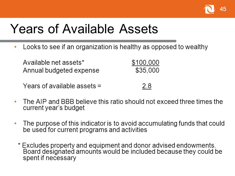 45 Years of Available Assets Looks to see if an organization is healthy as opposed to wealthy Available net assets*$100,000 Annual budgeted expense $35,000 Years of available assets = 2.8 The AIP and BBB believe this ratio should not exceed three times the current year's budget The purpose of this indicator is to avoid accumulating funds that could be used for current programs and activities * Excludes property and equipment and donor advised endowments.