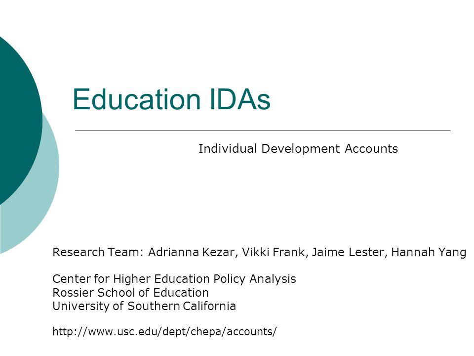 IDAs and FAFSA Do IDAs reduce financial aid packages.