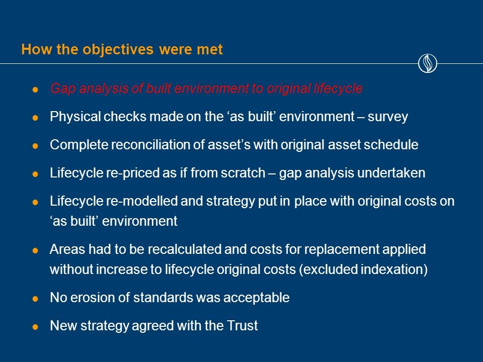 How the objectives were met Gap analysis of built environment to original lifecycle Physical checks made on the 'as built' environment – survey Complete reconciliation of asset's with original asset schedule Lifecycle re-priced as if from scratch – gap analysis undertaken Lifecycle re-modelled and strategy put in place with original costs on 'as built' environment Areas had to be recalculated and costs for replacement applied without increase to lifecycle original costs (excluded indexation) No erosion of standards was acceptable New strategy agreed with the Trust
