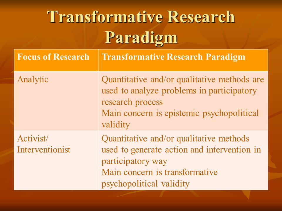 Transformative Research Paradigm Focus of ResearchTransformative Research Paradigm AnalyticQuantitative and/or qualitative methods are used to analyze
