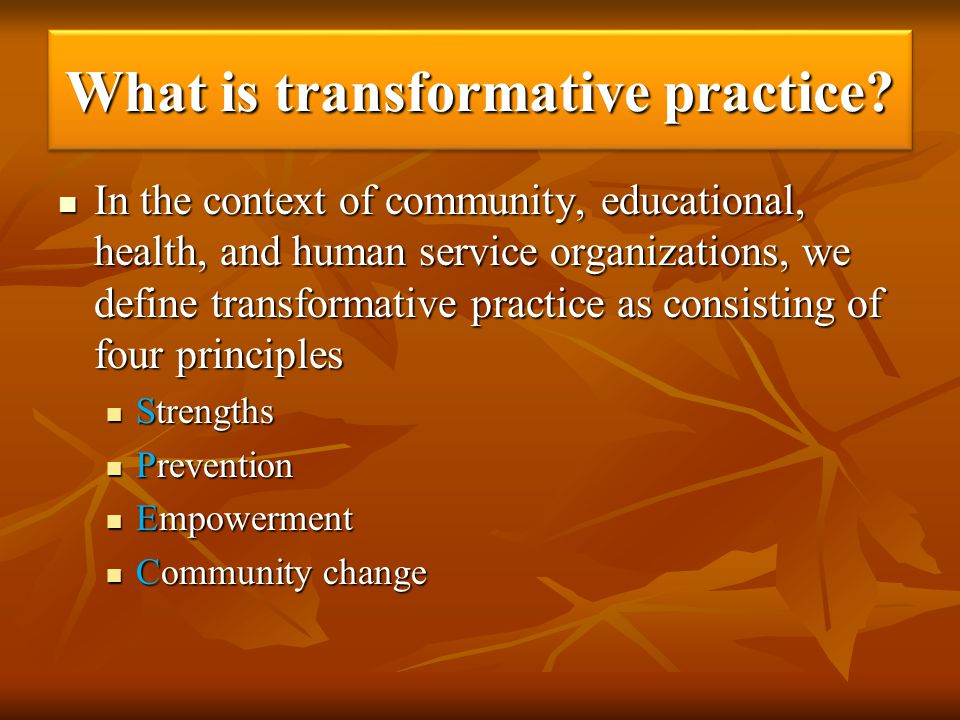 What is transformative practice? In the context of community, educational, health, and human service organizations, we define transformative practice