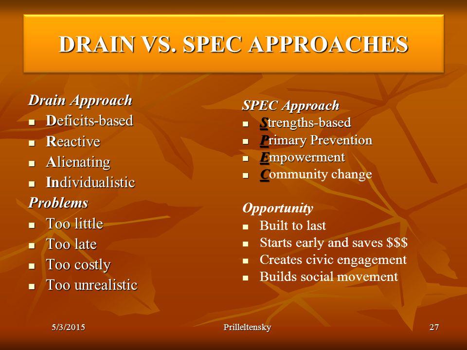 5/3/2015 Prilleltensky27 DRAIN VS. SPEC APPROACHES Drain Approach Deficits-based Deficits-based Reactive Reactive Alienating Alienating Individualisti
