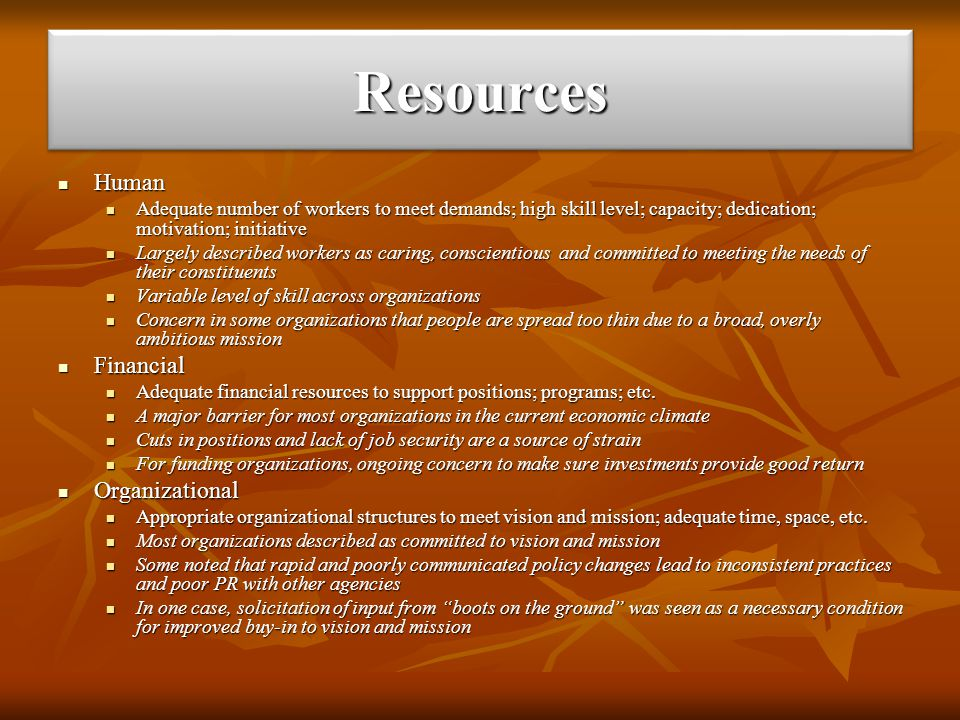 ResourcesResources Human Human Adequate number of workers to meet demands; high skill level; capacity; dedication; motivation; initiative Adequate num