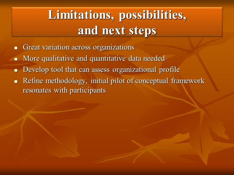 Limitations, possibilities, and next steps Great variation across organizations Great variation across organizations More qualitative and quantitative
