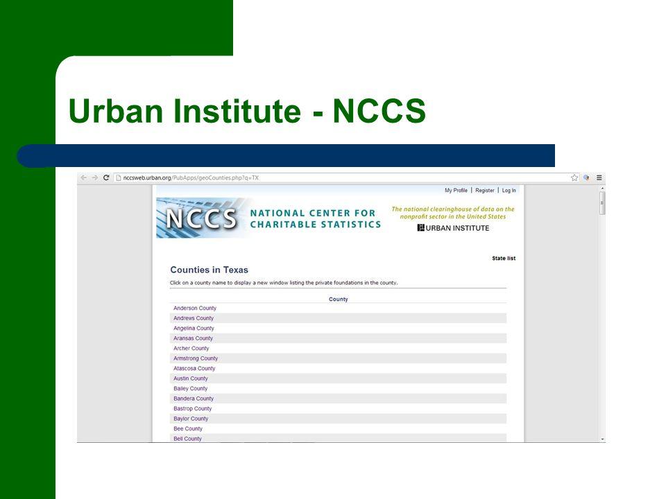 Urban Institute - NCCS