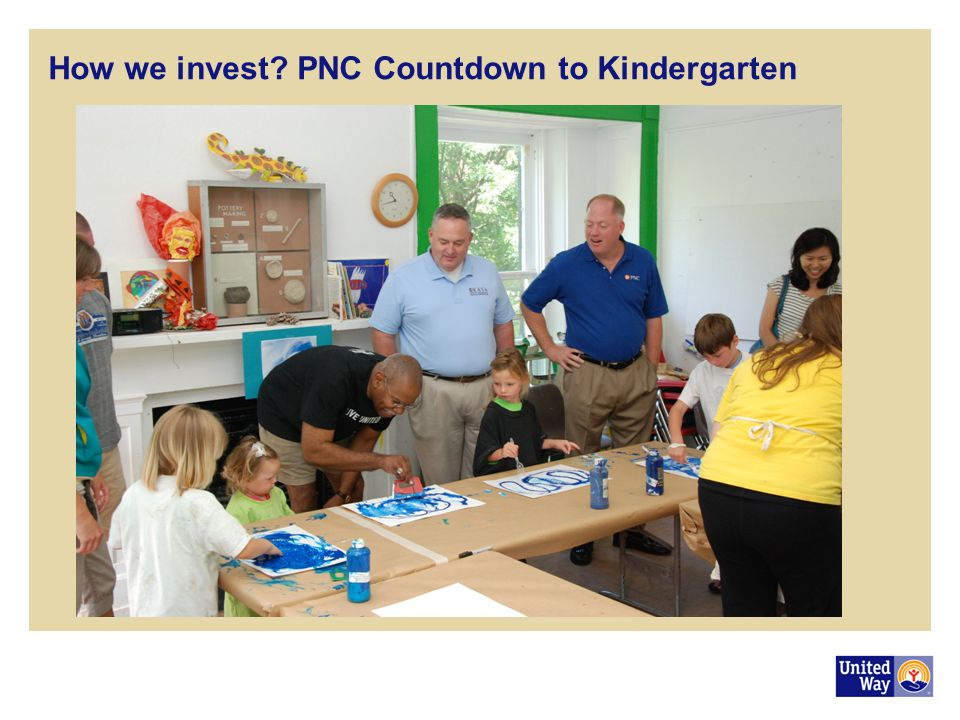 How we invest? PNC Countdown to Kindergarten In the past, we often invested in reaction to community crisis We are often motivated to give to an agenc