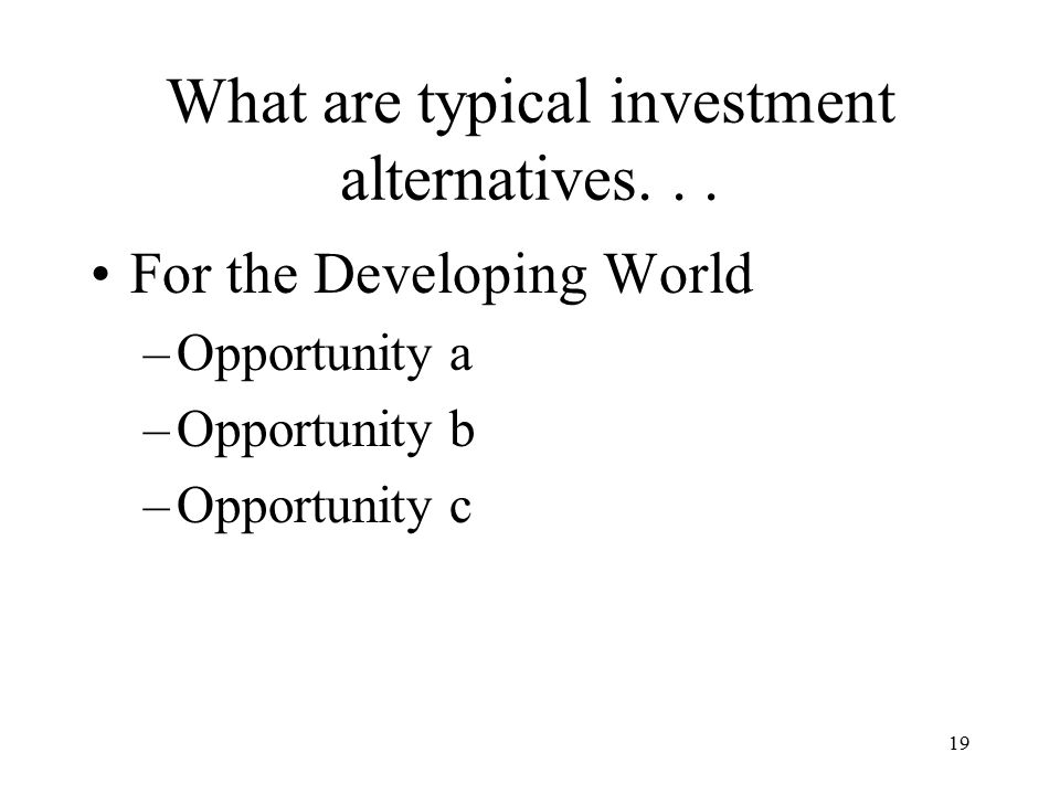 19 For the Developing World –Opportunity a –Opportunity b –Opportunity c What are typical investment alternatives...