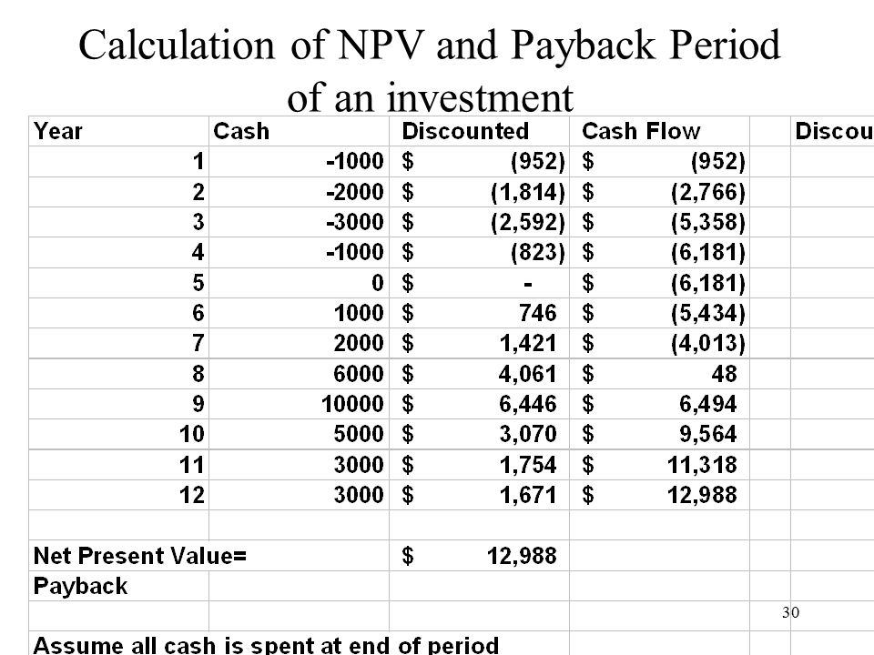 30 Calculation of NPV and Payback Period of an investment