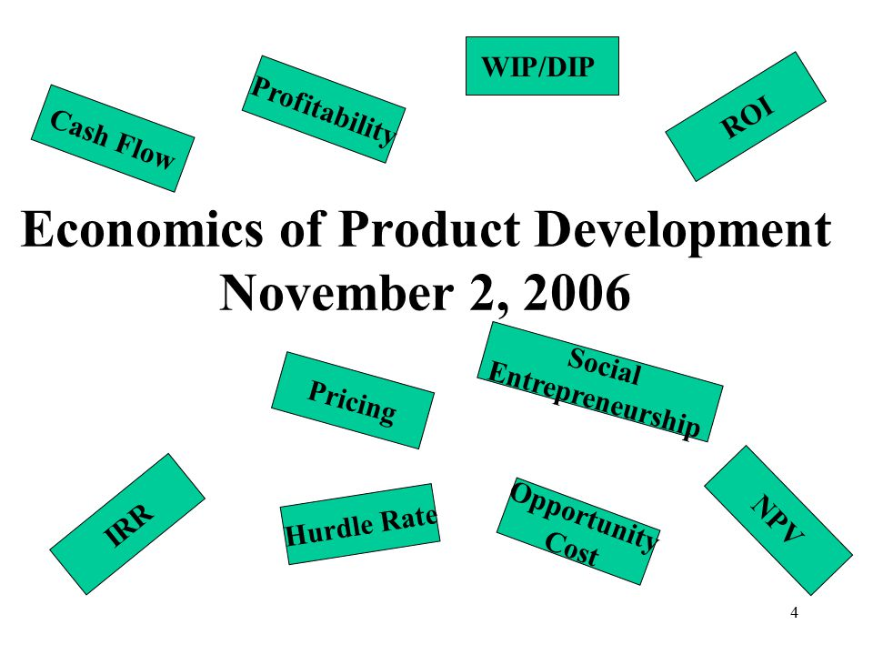 4 Economics of Product Development November 2, 2006 Profitability WIP/DIP Pricing IRR Hurdle Rate NPV ROI Cash Flow Opportunity Cost Social Entrepreneurship