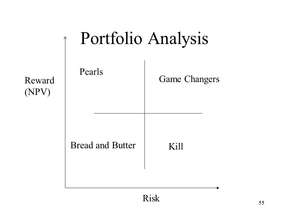 55 Portfolio Analysis Reward (NPV) Risk Game Changers Kill Bread and Butter Pearls
