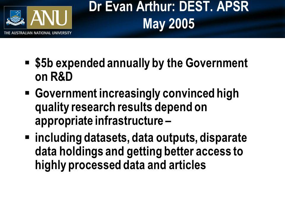 Dr Evan Arthur: DEST.