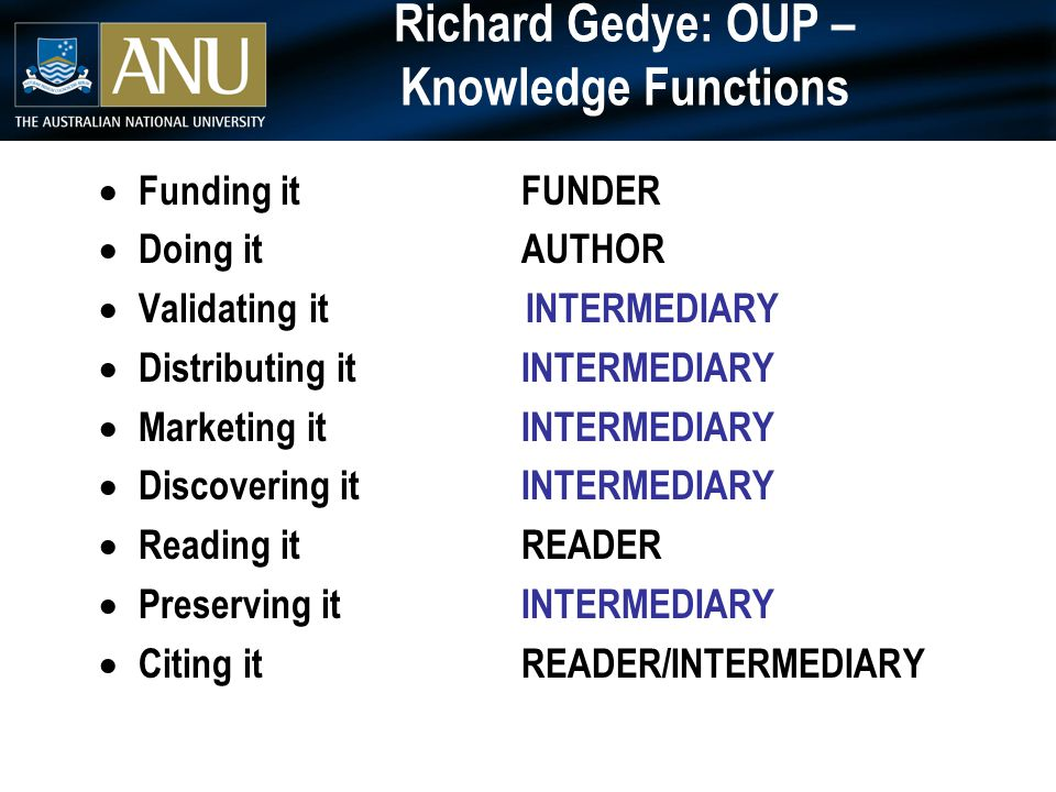 Richard Gedye: OUP – Knowledge Functions  Funding itFUNDER  Doing itAUTHOR  Validating it INTERMEDIARY  Distributing itINTERMEDIARY  Marketing itINTERMEDIARY  Discovering itINTERMEDIARY  Reading itREADER  Preserving itINTERMEDIARY  Citing itREADER/INTERMEDIARY