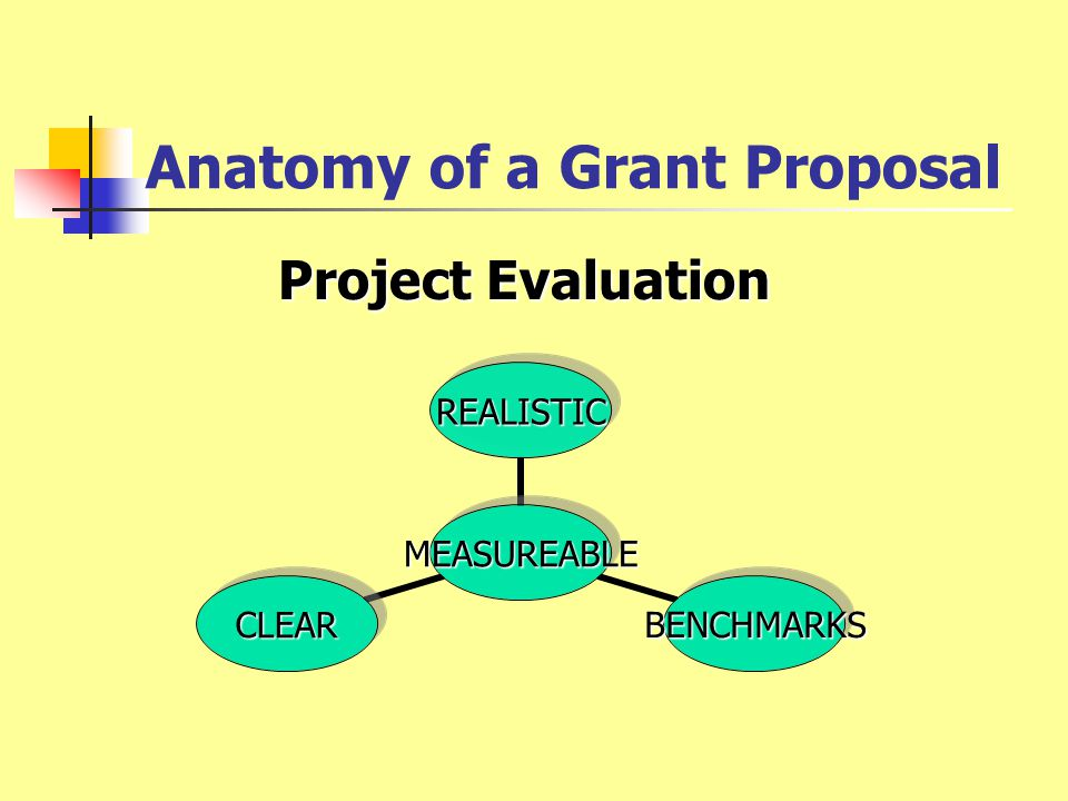 Anatomy of a Grant Proposal Project Evaluation Clear, measurable performance goals Quantitative and qualitative measures Process to collect/report data to funding agency Process to report to local stake-holders Formative and summative assessments Measurement/reporting timelines