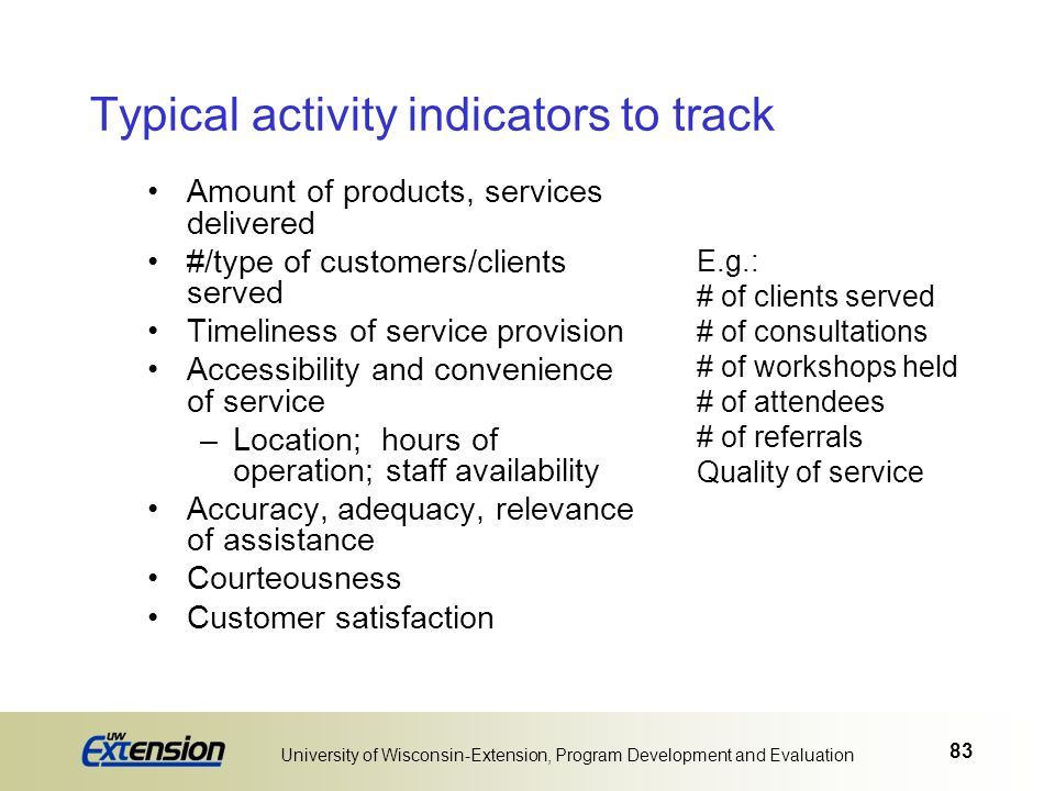 83 University of Wisconsin-Extension, Program Development and Evaluation Typical activity indicators to track Amount of products, services delivered #
