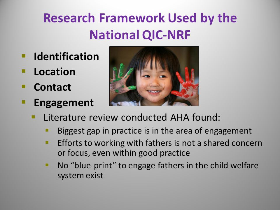 Research Framework Used by the National QIC-NRF  Identification  Location  Contact  Engagement  Literature review conducted AHA found:  Biggest gap in practice is in the area of engagement  Efforts to working with fathers is not a shared concern or focus, even within good practice  No blue-print to engage fathers in the child welfare system exist 15