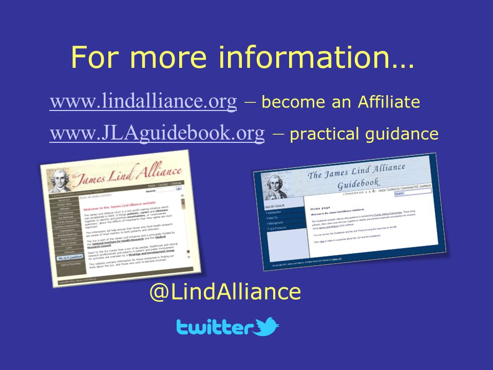 For more information… www.lindalliance.orgwww.lindalliance.org – become an Affiliate www.JLAguidebook.orgwww.JLAguidebook.org – practical guidance @LindAlliance
