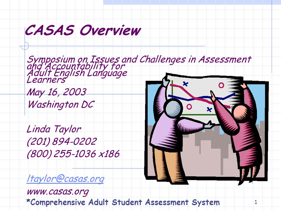 1 CASAS Overview Symposium on Issues and Challenges in Assessment and Accountability for Adult English Language Learners May 16, 2003 Washington DC Li