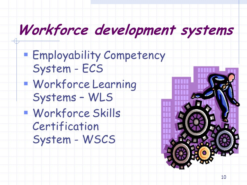 10 Workforce development systems  Employability Competency System - ECS  Workforce Learning Systems – WLS  Workforce Skills Certification System -