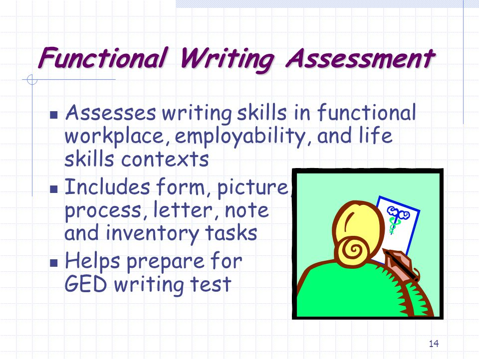 14 Assesses writing skills in functional workplace, employability, and life skills contexts Includes form, picture, process, letter, note and inventor