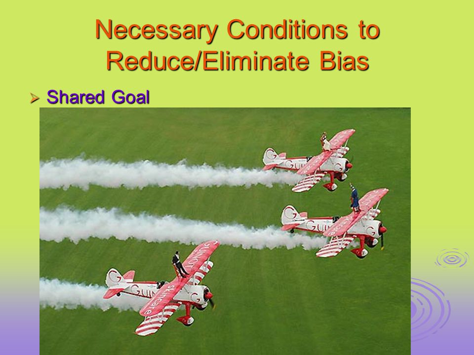 Necessary Conditions to Reduce/Eliminate Bias  Shared Goal