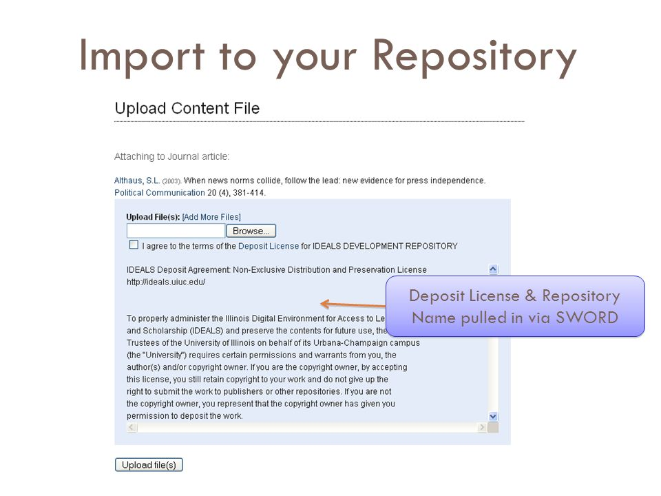 Import to your Repository  Deposit License & Repository Name pulled in via SWORD