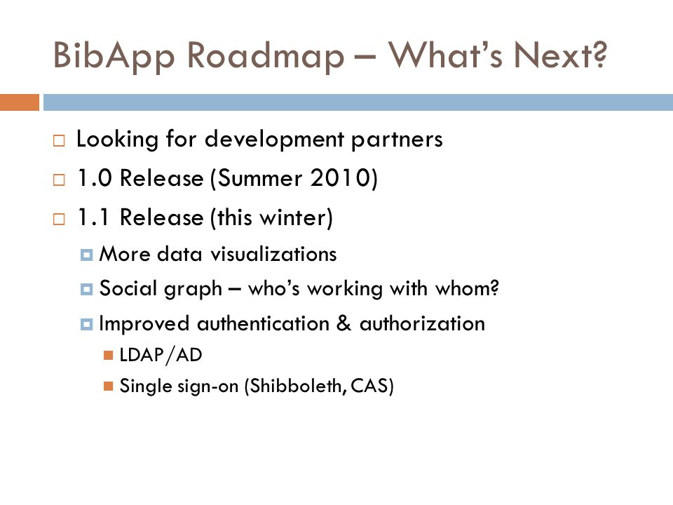 BibApp Roadmap – What's Next.