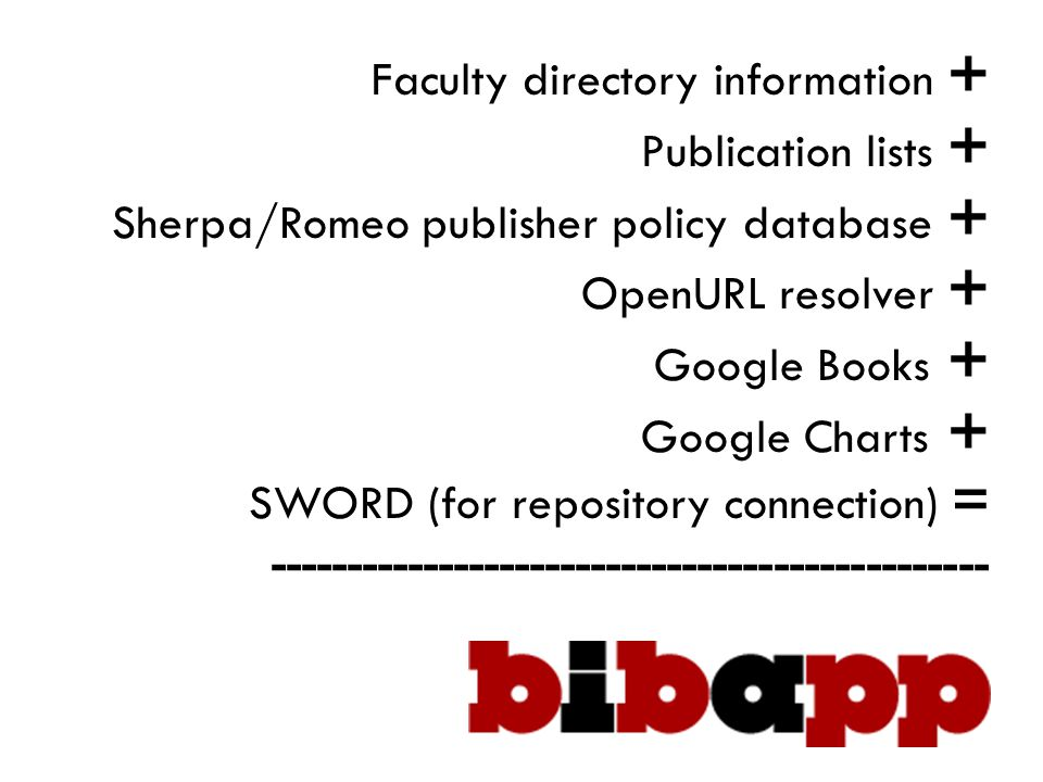 Faculty directory information + Publication lists + Sherpa/Romeo publisher policy database + OpenURL resolver + Google Books + Google Charts + SWORD (for repository connection) = -----------------------------------------------