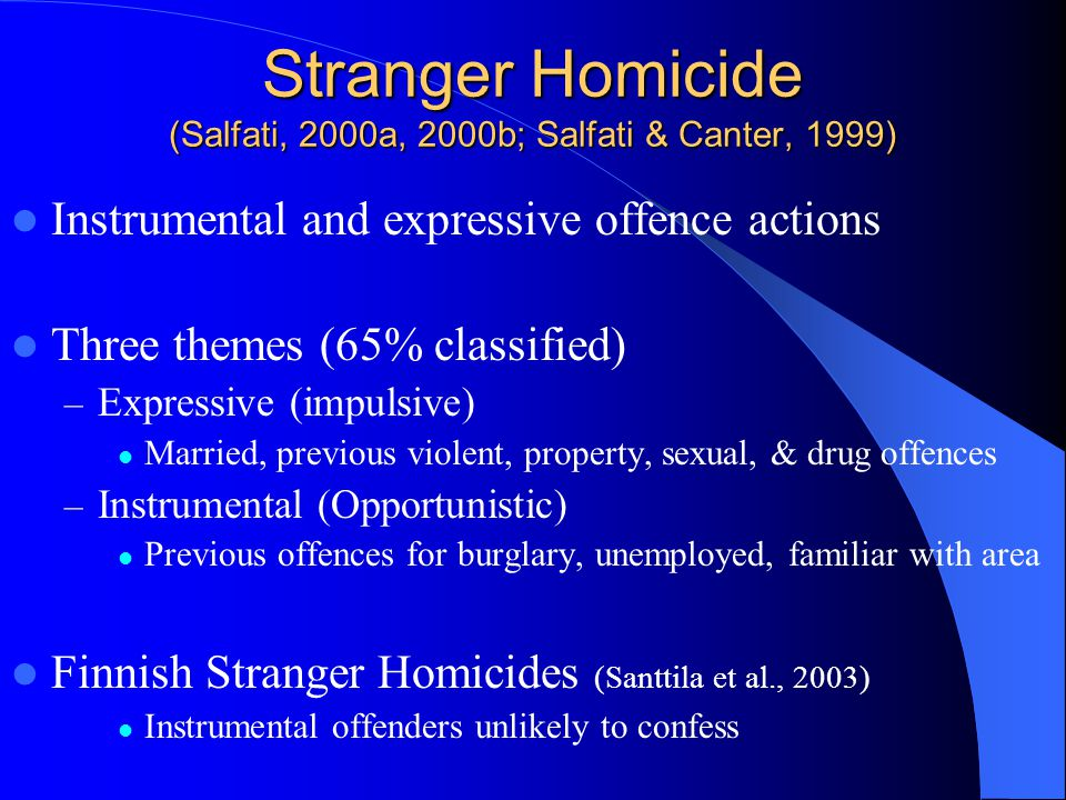 Stranger Homicide (Salfati, 2000a, 2000b; Salfati & Canter, 1999) Instrumental and expressive offence actions Three themes (65% classified) – Expressive (impulsive) Married, previous violent, property, sexual, & drug offences – Instrumental (Opportunistic) Previous offences for burglary, unemployed, familiar with area Finnish Stranger Homicides (Santtila et al., 2003) Instrumental offenders unlikely to confess
