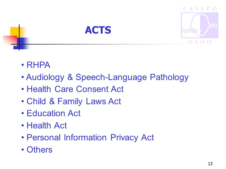 13 ACTS RHPA Audiology & Speech-Language Pathology Health Care Consent Act Child & Family Laws Act Education Act Health Act Personal Information Privacy Act Others