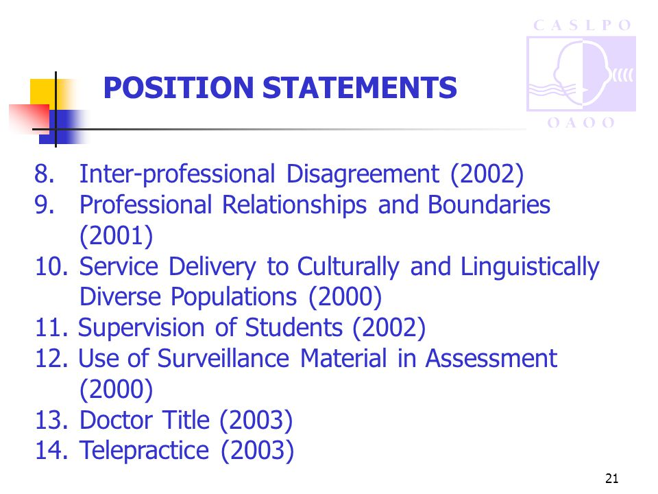 21 POSITION STATEMENTS 8.Inter-professional Disagreement (2002) 9.