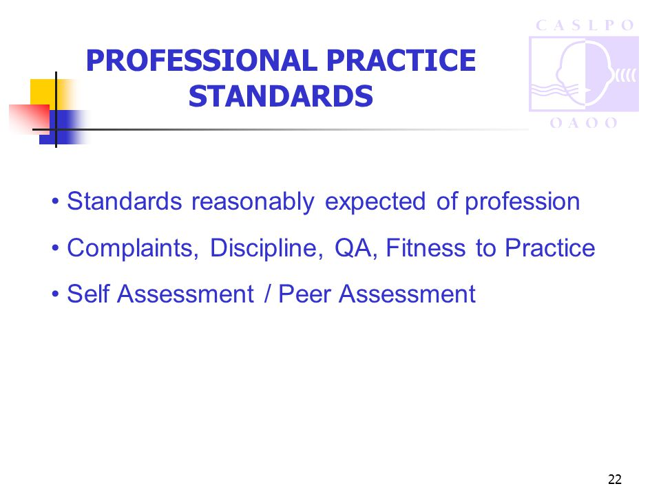 22 PROFESSIONAL PRACTICE STANDARDS Standards reasonably expected of profession Complaints, Discipline, QA, Fitness to Practice Self Assessment / Peer Assessment