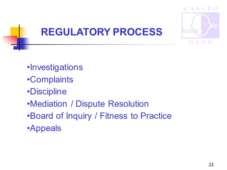 23 REGULATORY PROCESS Investigations Complaints Discipline Mediation / Dispute Resolution Board of Inquiry / Fitness to Practice Appeals