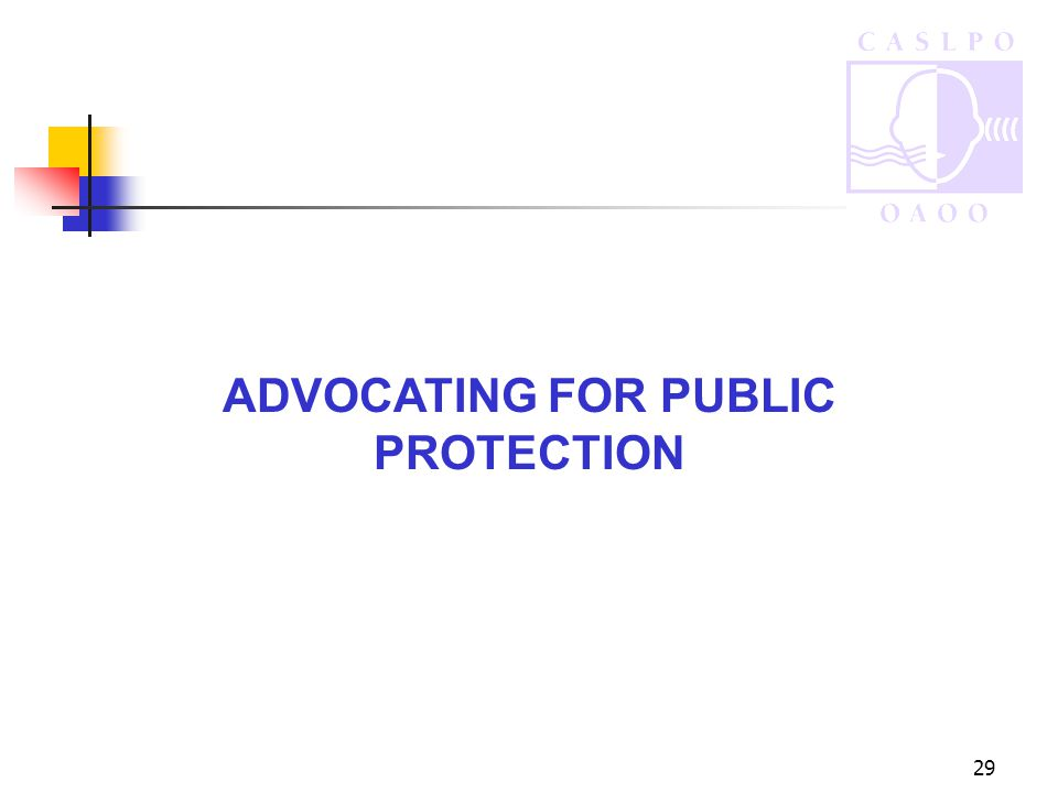 29 ADVOCATING FOR PUBLIC PROTECTION
